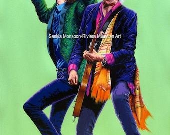 Mick Jagger and Keith Richards Original acrylic painting