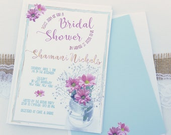 Floral Bridal Shower Invitation - Rustic Wedding Shower Invite - Wildflower Jar Bridal Shower Invitations - Summer Bridal Shower Invitations