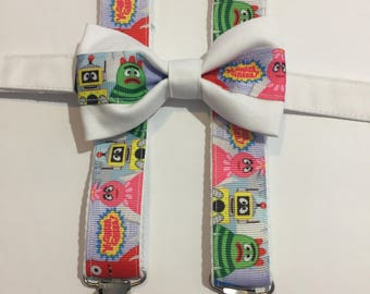 Yo Gabba Gabba Matching Bow Tie and Suspender Set for Toddler to 6-7 yr old