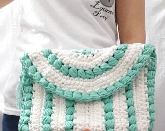 Green and White Colors Handbags Crochet Tote Bag Hand crochet purse woman bag shopping bag Summer Bag Handwoven Bag Crochet Shoulder bag