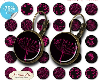 75% OFF SALE Magenta Flowers - 18mm, 16mm, 14mm, 12mm, 10mm Circles Digital Collage Sheets E-016 Printable Earring, Rings, Jewelry