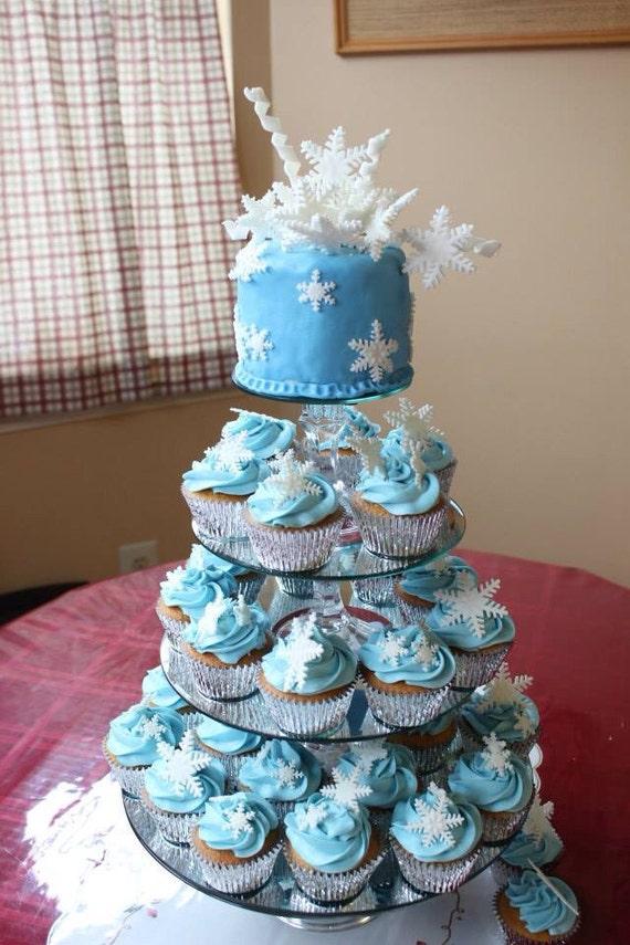 snowflake cake topper 14pcs 3D set edible fondant snowflakes