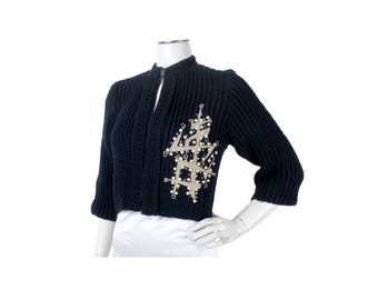 Vintage 50s Sweater - 50s Cardigan Sweater - 50s Black Sweater - 50s Black Cardigan - 50s Bolero - 50s Appliqued Sweater - Rockabilly - VLV