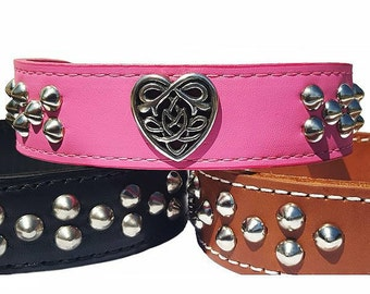 Tribal Celtic Heart Leather Dog Collar, Tapered, 1.5 inch wide