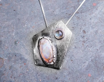 Opal and Labradorite with sterling silver Necklace