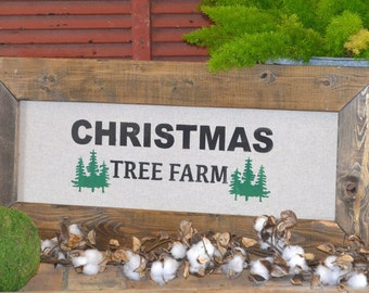 CHRISTMAS TREE FARM - Hand Painted Sign with Stained Wood Frame (14 in by 32 in)
