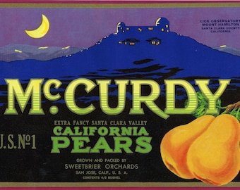 McCURDY pear crate label, Mt Hamilton Observatory CA
