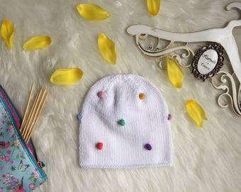 Children Hand Knit Hat/ Children Slouchy Beanie