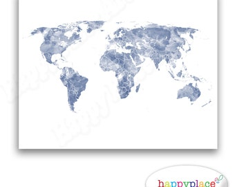Bright and cheerful multicoloured world map art digital blue and white world map print for instant download 8x10 or 11x14inch watercolour texture gumiabroncs Gallery