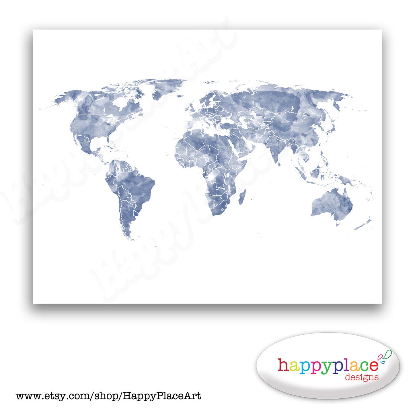 Blue and White World Map Print for Instant Download. 8x10 or