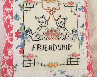 Pillow Made From Vintage Linens, Quilts, Dogs, Friendship, Cottage, Bedroom