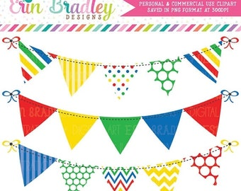 80% OFF SALE Primary Colors Bunting Clipart Graphics Instant Download Bunting Clip Art Red Yellow Green & Blue Banner Flags Commercial Use