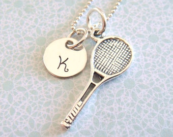 Tennis Necklace with Hand Stamped Initial Disc // tennis racket charm // gifts for her // sports jewelry // tennis charm