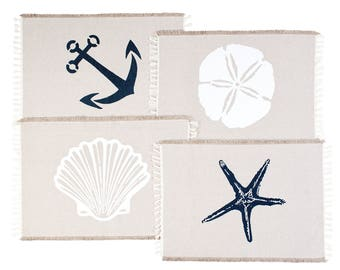 Table Placemats Set: 4 Beach Themed Nautical Kitchen Place Mats - Seashell, Sand Dollar, Starfish & Anchor Designs With Fringes
