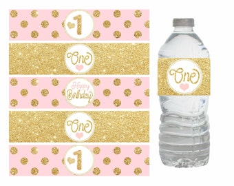Pink and Gold First Birthday Water bottle labels, Pink and gold water bottle labels, Pink and gold decorations, Gold Polka dot, Digital file