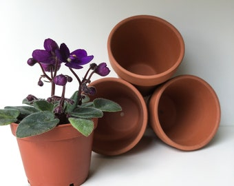 "Set of 3 Mini Terra~cotta Pots, 2.5"" Size, Planter, Pot, Conatainer, Floral Presentation, Propagation, Seed Starting, Miniature, Crafts"