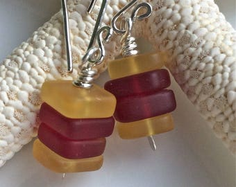 Red and Yellow Sea Glass Earrings  Beach Glass  Cultured Sea Glass  Sterling Silver Earrings