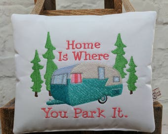 Caravan Sign 'Home Is Where You park It'  fun handmade sign for Caravan and camping Holiday Days, lovely gift for Caravan Owner / Camper