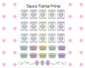 Washing Machine Laundry Planner Stickers A11