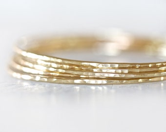 Gold Bangles / Stacking Bangles / Nu Gold Bracelets / Hand Hammered / Unique / Fashion Trend / Gold Trending