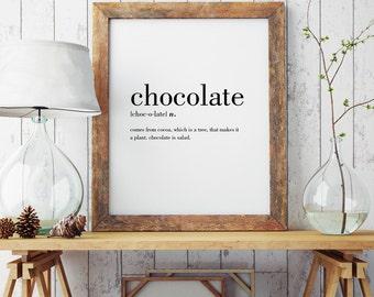 Chocolate Definition Print | Wall Art Print | Wall Decor | Minimal Print | Food Print | Modern Print | Type Poster | INSTANT DOWNLOAD #DP1
