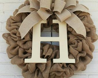 """22"""" Natural Burlap Initial Wreath"""