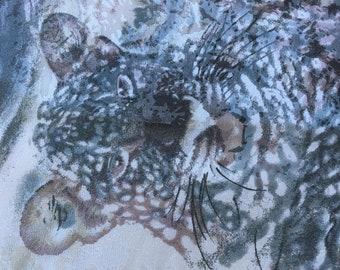 KRIZIA SILK ANIMAL Print/Silver Grey Cheetah Scarf by Krizia Scarf / Cheeta Style Print Beach Wrap Extra Long Scarf