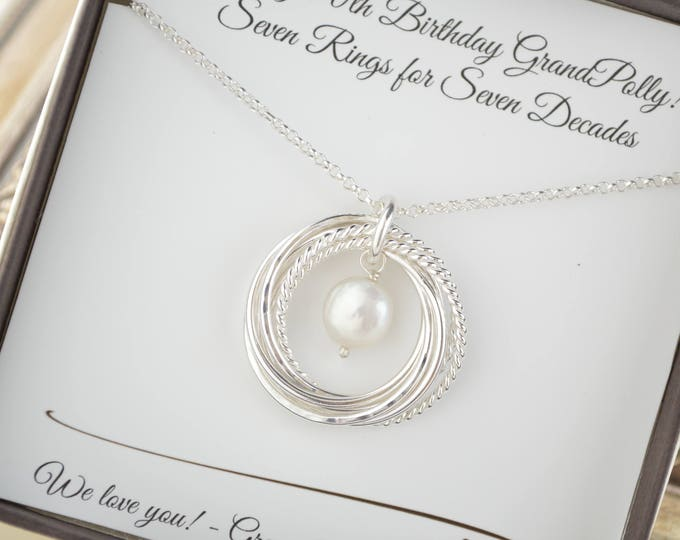 70th Birthday gift for mom and grandma necklace, June birthstone necklace, Pearl necklace, Jewelry for mom, Gift for mother, 7th Anniversary