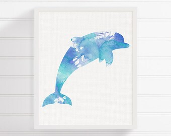 Dolphin Painting, Dolphin Art Print, Nautical Home Decor, Beach Art Print, Nursery Art Print, Watercolor Dolphin, Sea Life Art, Coastal Art