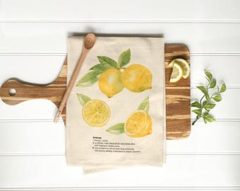 Tea Towel - Lemon Tea Towel Summer Tea Towel Cotton Kitchen Towel Unbleched Dish Towel Summer Decor Tropical Decor Farmhouse Decor Palm Tree