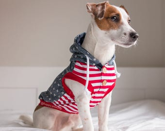 Patriotic Dog Hoodie, Stars and Stripes Dog Hoodie, Dog Jacket, Dog coat,  Sweatshirt Dog Hoodie, Dog Coat, LIMITED EDITION
