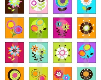 Pretty Blooms - one 4x6 inch digital sheet of scrabble size (0.75 x 0.83 inches) images for scrabble tiles, magnets, stickers etc.