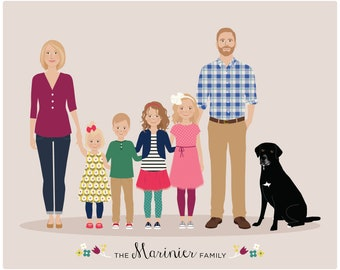 Custom Family Portrait, family illustration, personalized family