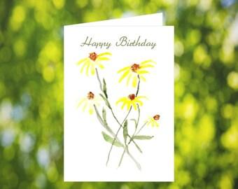 Yellow Chrysanthemum Birthday Card Download: Watercolor Flower Birthday Card - Digital Download - Downloadable Card - Birthday Card for Her