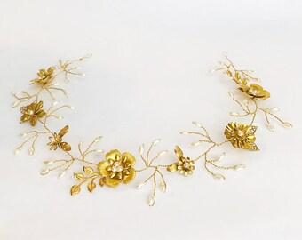 Gold Hair Vine   Bridal Hair Wreath   Wedding Hairpiece   Gold Flower Crown   Bridal Accessories   Gold Hairpiece   Gold Hair Wreath