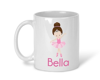 Kids Personalized Ceramic Mug - Ballet Class Ballerina Crown, Child Personalized Mug, Colored Rim and Handle, Color Heat Reactive