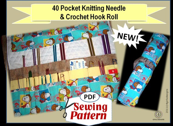 40 Pocket Knitting Needle and Crochet Hook Organizer Roll PDF Very ...