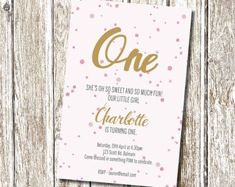 Pink and Gold Birthday Invitation - Printable and Personalised