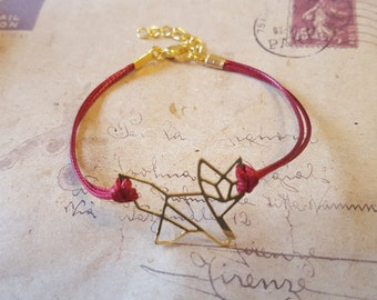 Origami Fox - goldfarben-bracelet avec bande rouge