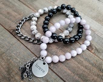 Bracelet Stack Brave Stack Gemstone Stone Bracelet Yoga Stacking Bracelets Boho Bracelets