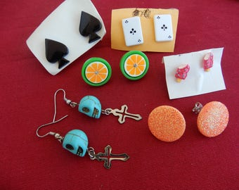 lot of 6 handmade funky earrings