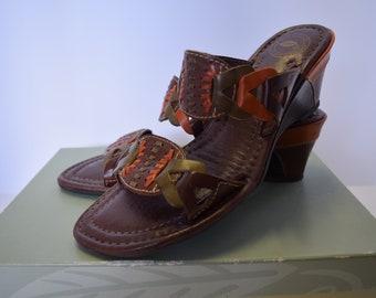 New In Box Nurture Orange, Green and Brown Wedge Sandals- 8.5M