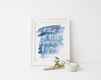 A thrill of hope a weary world rejoices Print, Typography Print, Bible Verse Print, song lyric print, christmas print, christmas decor print