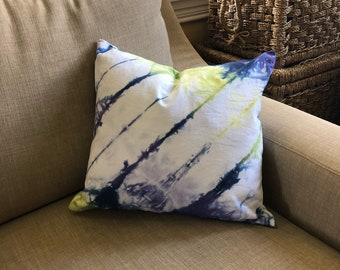 Shibori Dyed Indigo, Lime, and Violet Pillow Cover READY TO SHIP