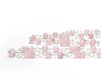 Rose Quartz Long Necklace - Natural Stone and Silver Plated Chain Necklace - 36 Inch Pale Pink Necklace