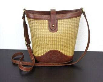 Vintage Marley Hodgson Ghurka Bucket No 100 Shoulder Bag Purse, Tan Brown, Checked Derby Plaid Fabric Leather Norwalk Connecticut 090003