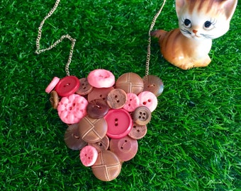 Peach Button Necklace, Retro, Vintage Button Necklace, Rose Gold, Colourful Statement Necklace