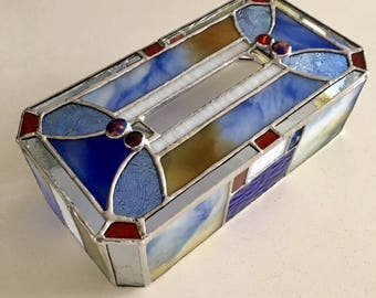 Tissue box Case Blue white gold glass Bay View