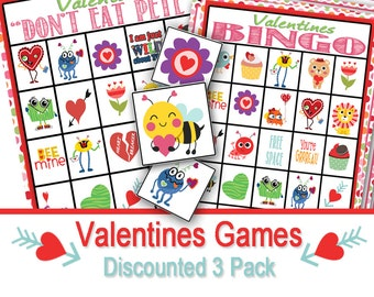Valentine Class Party Game Three Pack, Valentine Party, Kids Party, Valentine Bingo, Valentine Don't Eat Pete, Valentine Matching Game,