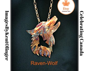 raven wolf, raven jewelry, wolf jewelry, crow wolf, crow necklace, raven necklace, spirit guide, wolf totem, raven totem, flame painted